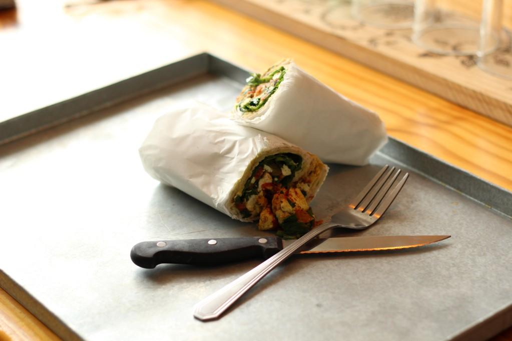 Tofu scramble wrap at Free Food*