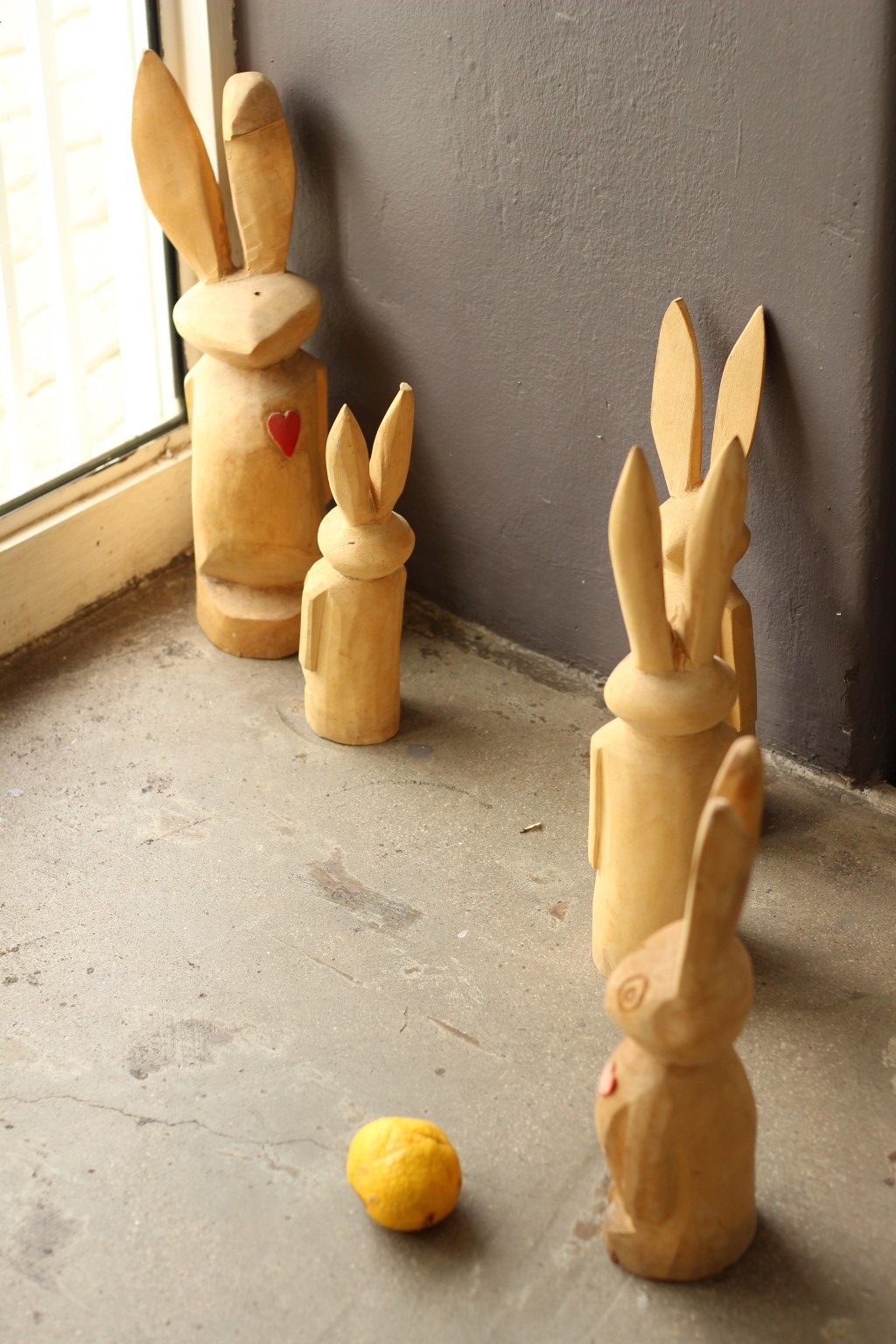 Wooden rabbits are part of the decor at Free Food