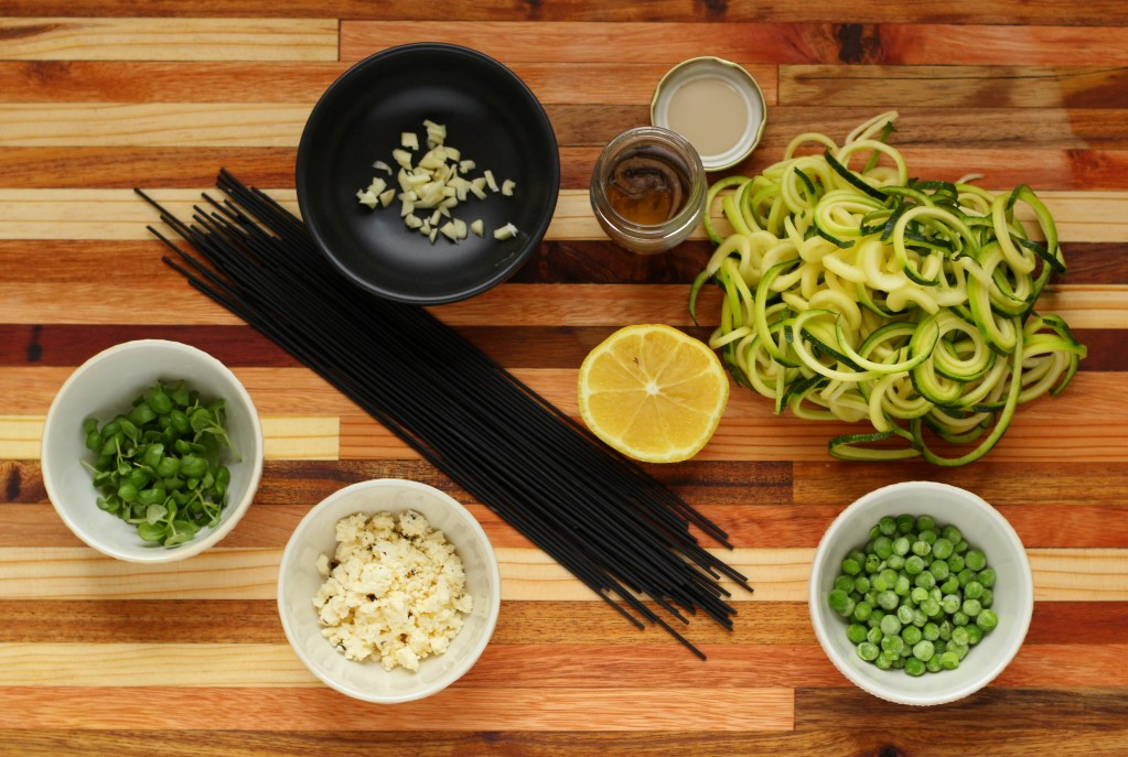 Ingredients for lemony squid ink spaghetti #Pescatarian #pasta #quick #fresh