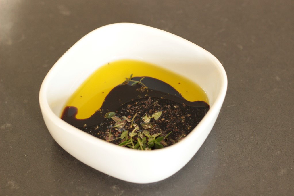 Balsamic vinegar, olive oil and thyme